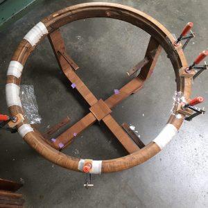 fineerschade herstellen 30e jaren salontafel | Patine meubelrestauratie